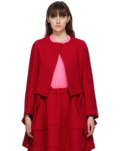 Открытый шерстяной удлиненный пиджак с карманами Comme Des Garçons