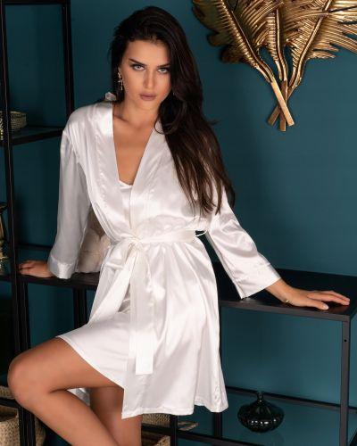 Biały szlafrok z długimi rękawami Livia Corsetti