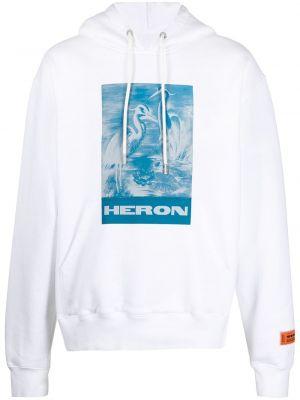 Niebieska bluza długa z kapturem z długimi rękawami Heron Preston