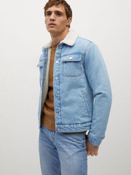 Прямая хлопковая джинсовая куртка с карманами Mango Man