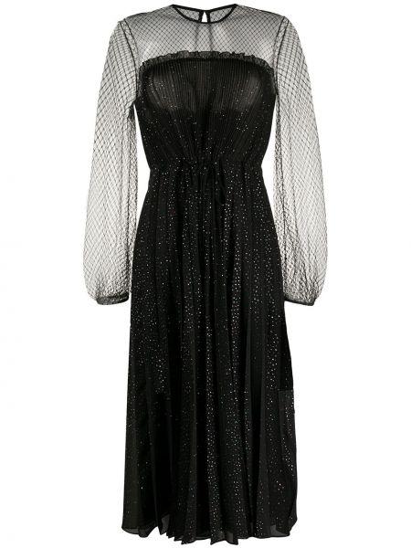 Коктейльное платье с прозрачными рукавами черное Marco De Vincenzo