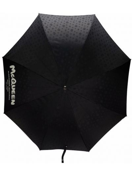 Czarny parasol srebrny z printem Alexander Mcqueen