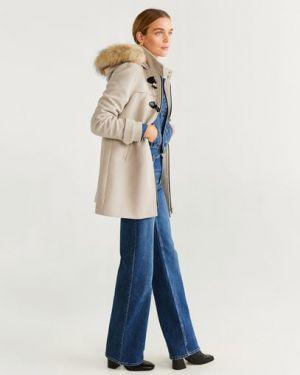 Пальто с капюшоном шерстяное с воротником Mango