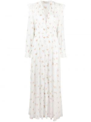 Платье с V-образным вырезом - белое Alessandra Rich