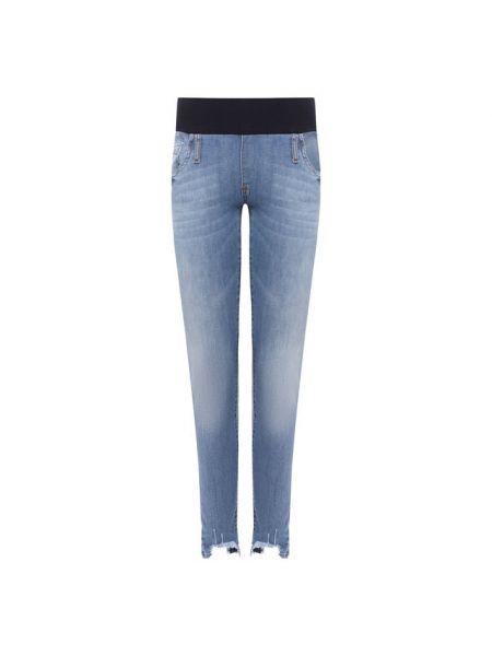 Хлопковые синие джинсы стрейч для беременных Pietro Brunelli