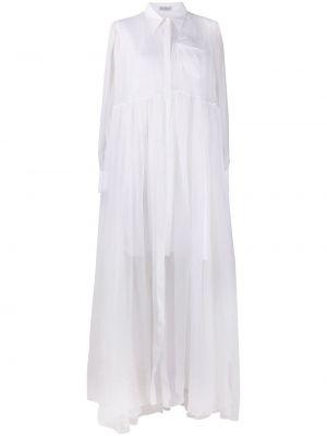 Шелковое белое платье-рубашка прозрачное Brunello Cucinelli