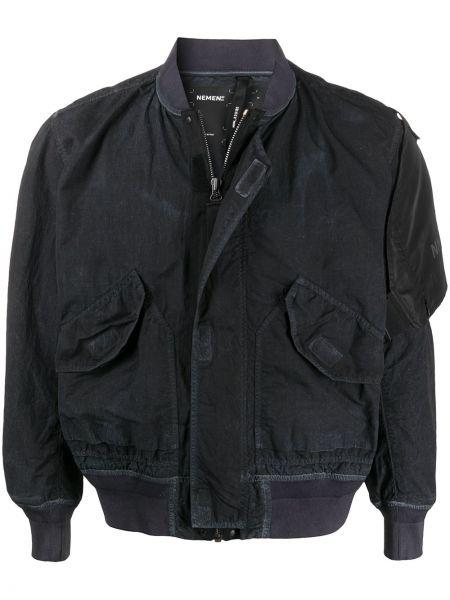 Нейлоновая черная длинная куртка на резинке с манжетами Nemen