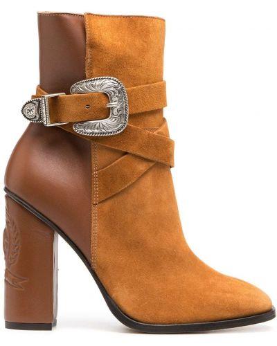 Коричневые кожаные пинетки на каблуке с пряжкой Tommy Hilfiger