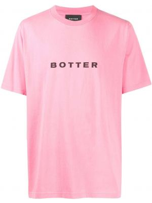 Прямая хлопковая розовая футболка с круглым вырезом Botter
