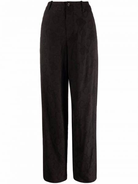 Бархатные прямые черные брюки Uma Wang