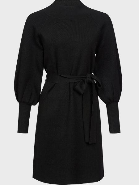 Черное платье с поясом из вискозы Silvian Heach