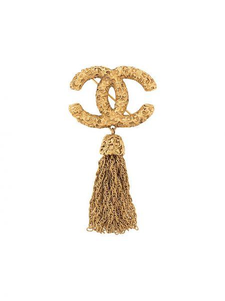Broszka na łańcuchu ze złota Chanel Pre-owned