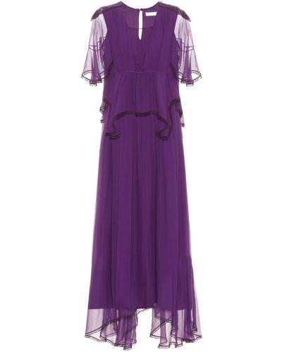 Шелковое фиолетовое вечернее платье Chloé