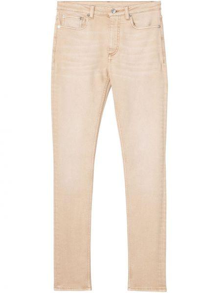 Бежевые зауженные джинсы-скинни стрейч Burberry
