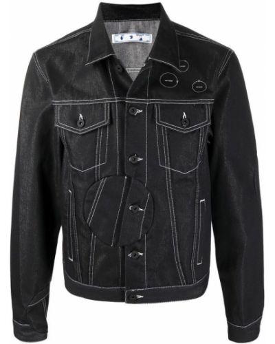 Czarna długa kurtka z długimi rękawami zapinane na guziki Off-white