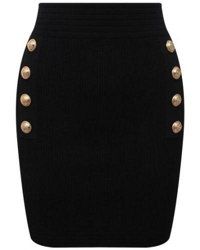Черная юбка из вискозы Balmain