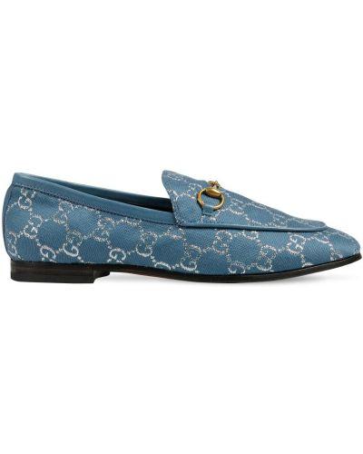 Niebieski loafers na pięcie z prawdziwej skóry prążkowany Gucci