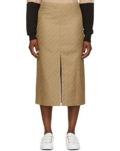 Bawełna beżowy satyna spódnica prążkowany Givenchy
