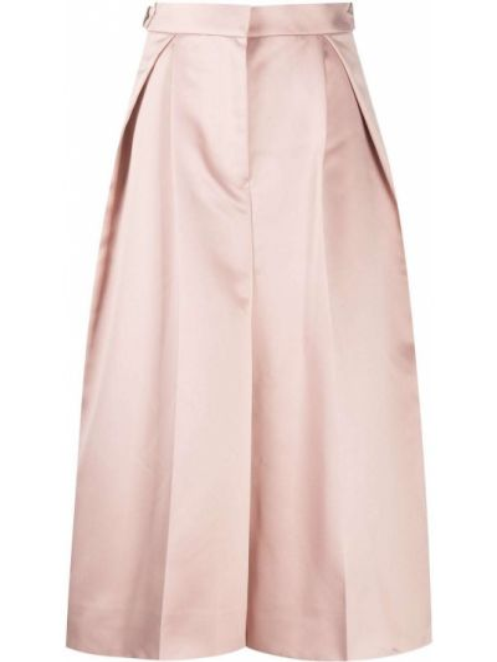 Розовая плиссированная юбка миди в полоску Sacai