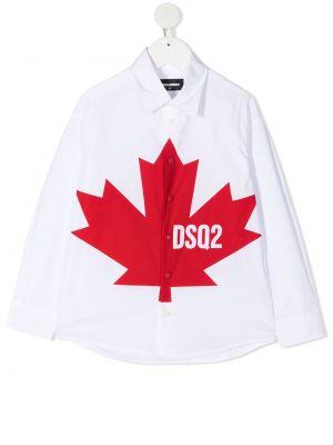 Хлопковая белая классическая рубашка с воротником Dsquared2 Kids