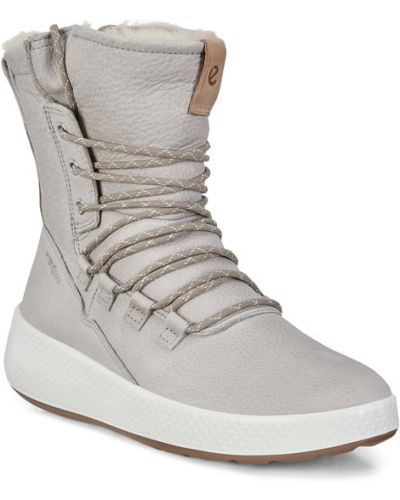 Зимние ботинки без каблука кожаные Ecco