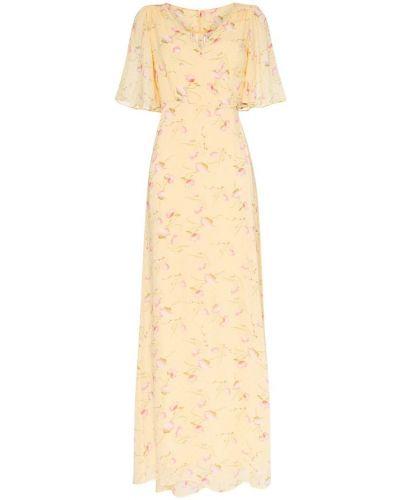 Желтое платье мини с запахом с вырезом на молнии By Timo