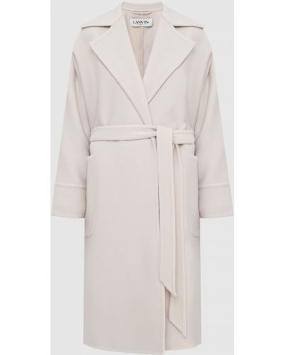 Бежевое шерстяное пальто Lanvin
