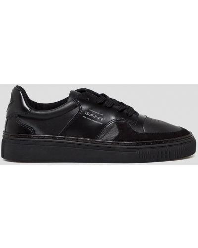 Кожаные кроссовки текстильные черные Gant