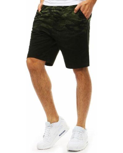 Zielone joggery materiałowe z paskiem Dstreet