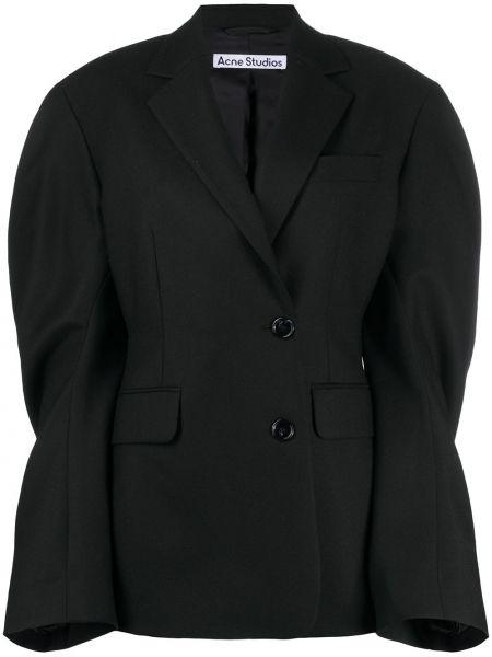 Шерстяной черный удлиненный пиджак двубортный Acne Studios