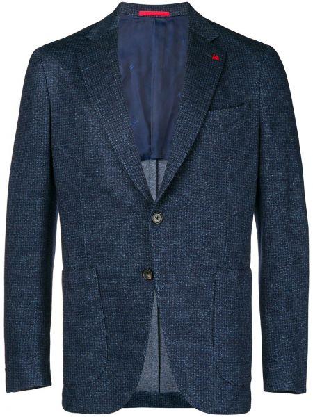 Шерстяной синий пиджак с карманами Isaia