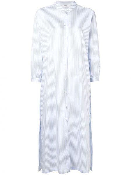 Синее платье миди в полоску с вырезом Blugirl