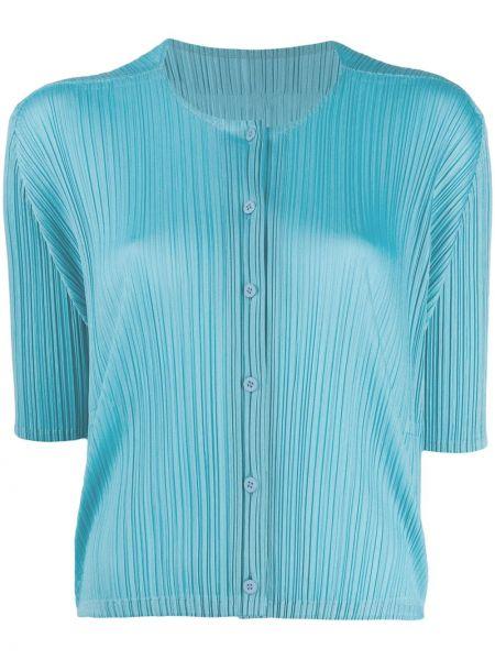 Niebieska koszula krótki rękaw na co dzień Pleats Please Issey Miyake