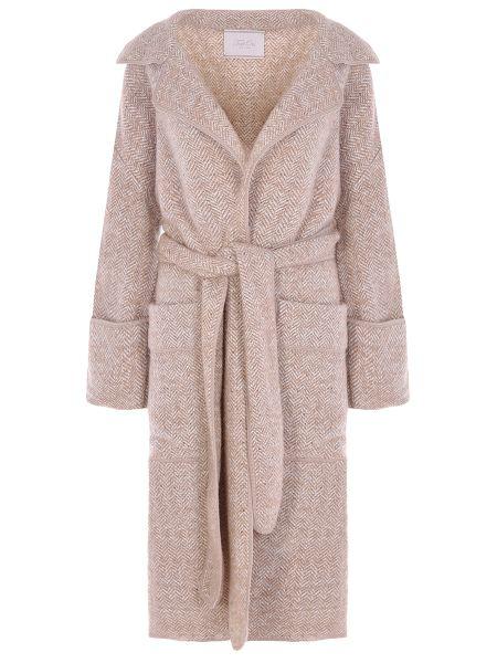 Бежевое пальто с воротником с запахом из альпаки Tak.ori