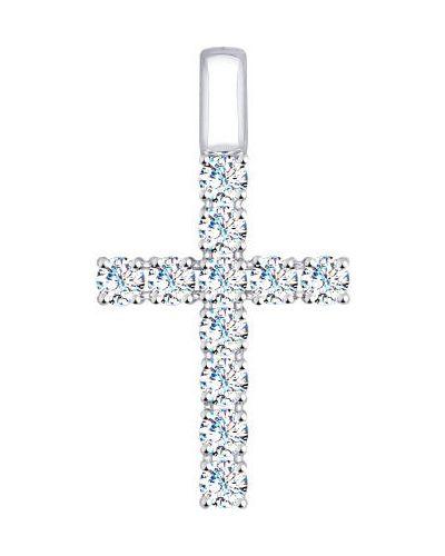 Серебряный крест с декоративной отделкой с подвесками Sokolov