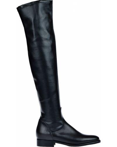 Черные кожаные ботфорты E'clat