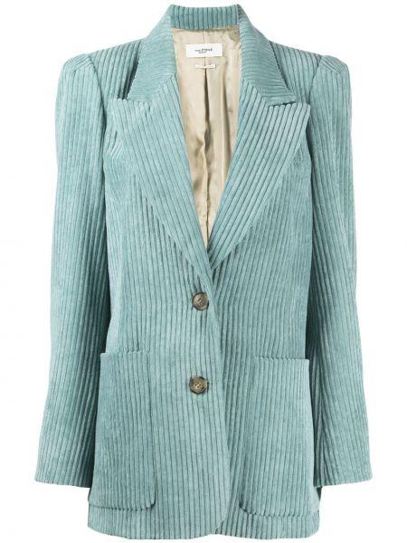 Однобортный синий удлиненный пиджак вельветовый Isabel Marant étoile
