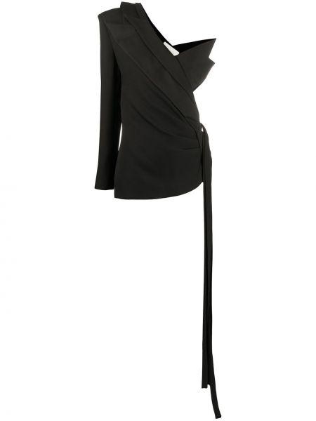 Асимметричный черный приталенный пиджак Loulou