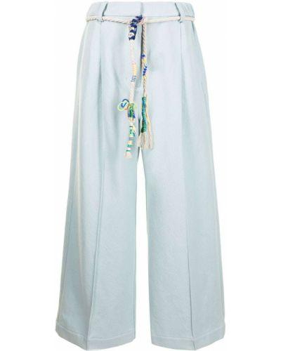 Расклешенные хлопковые синие брюки Mira Mikati