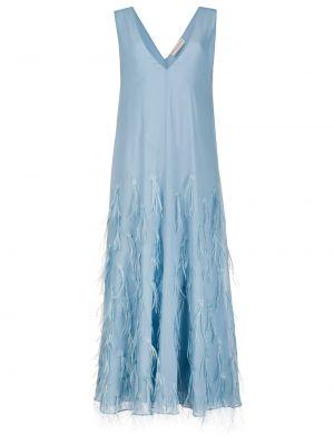 Шелковое синее вечернее платье с перьями Emilio Pucci