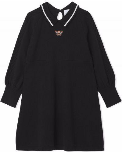 Czarna sukienka prążkowana Burberry Kids
