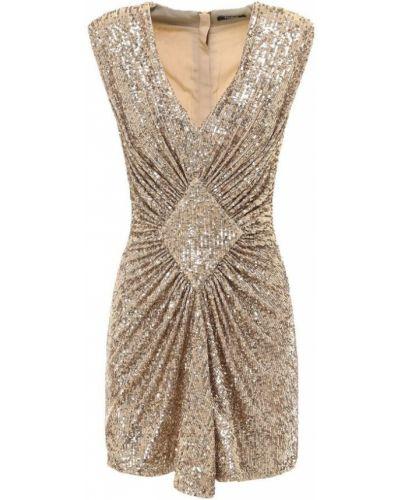 Złota sukienka midi elegancka z cekinami Balmain