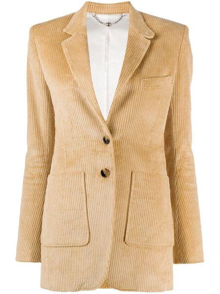 Хлопковый приталенный удлиненный пиджак на пуговицах Paco Rabanne
