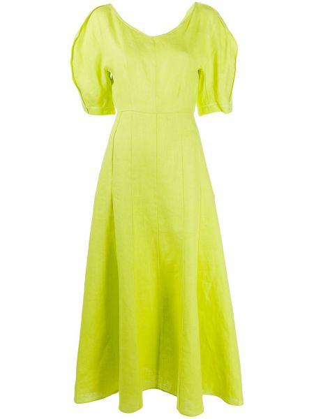 Желтое расклешенное платье с круглым вырезом круглое Mara Hoffman