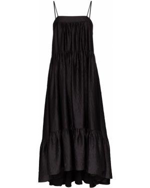 Тонкое черное платье макси на бретелях Simon Miller