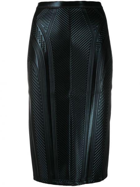 Черная с завышенной талией юбка карандаш с потайной застежкой с тиснением Mugler