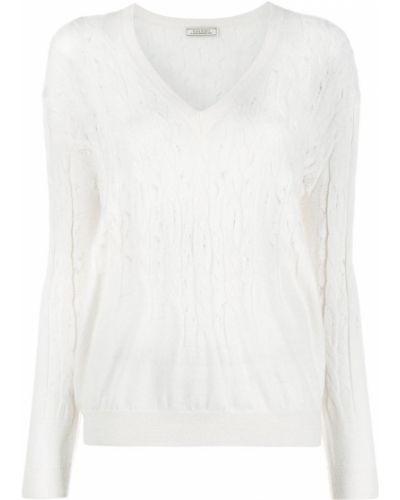 С рукавами белый джемпер с V-образным вырезом Nina Ricci