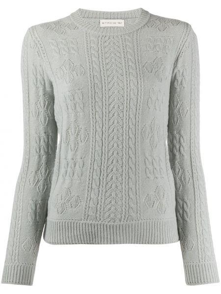 Шерстяной длинный свитер круглый в рубчик Etro