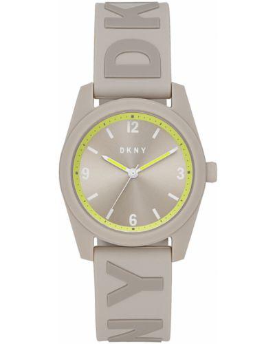 Szary zegarek kwarcowy z paskiem silikon Dkny