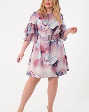 Летнее платье розовое с поясом Wisell